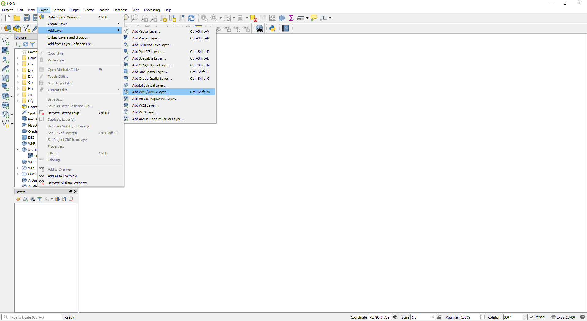 QGIS - Add WMS/WMTS Layer